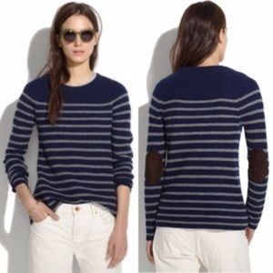 Madewell Navy Striped Suede Elbow Patch Sweater